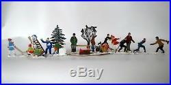 16 Hand Painted Lead Figures German Heinrichsen Skier Skater Sled Snowman Trees