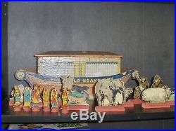 1890's US Made Rufus Bliss The World Noah's Ark Wooden Toy With Original Figures