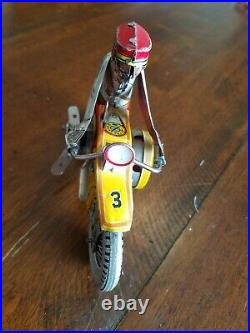 1938 Marx Tin Toy Wind-up Police Motorcycle siren Figure