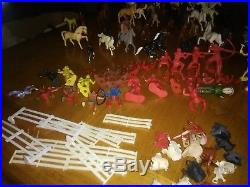 1950's 60's Marx Plastic Cowboy & Indian Figures and train platform animals