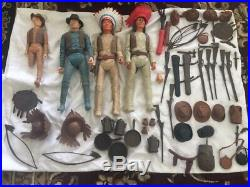 1960s Johnny West Marx Action Figures Geronimo Tonto Indians 50+ accessories