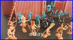 1964 Marx Fort Apache Play Set No 3681 powder blue and tan figures light brown
