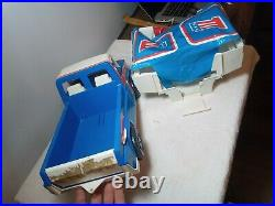 1970's Ideal Evel Knievel Canyon Rig, truck, camper, 2 figures, box, parts lot