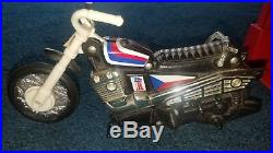1973 EVEL KNIEVEL STUNT CYCLE with FIGURE & GYRO-ENERGIZER. CLEAN WORKS