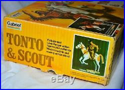 1977 The Lone Ranger Tonto and Scout 12 doll figure MIB NEW vintage Gabriel