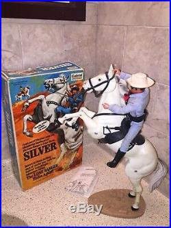 3 Vintage Gabriel Lone Ranger Figures & Horses With Box Tonto Butch Silver Smoke