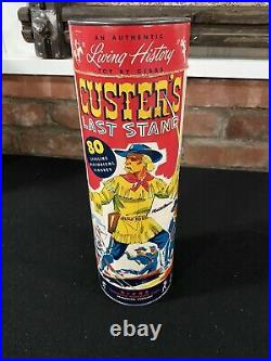 50s Gibbs Custer's Last Stand playset, all paper, container, & Figures. Amazing