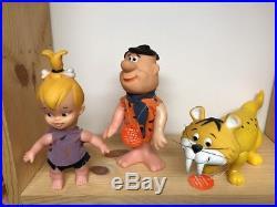 7 Vintage Toy Flintstones Dakin Figures Baby Puss Hopparoo Dino + Hanna Barbera