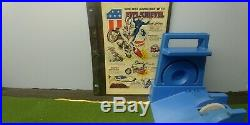 70's VINTAGE EVEL KNIEVEL Figure + Jet Cycle + Blue Launcher + original ad