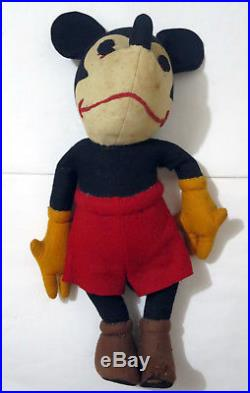 Antique 1930s 17 Mickey Mouse Steiff Plush Figure Large Doll Toy Vintage Disney