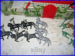 Antique 1950 Marx Prince Valiant Castle Fort Set Tin toy Litho Plastic figures