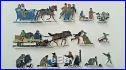 Antique 27 pc. German Hans Heinrichsen Lead Figures Winter Scene