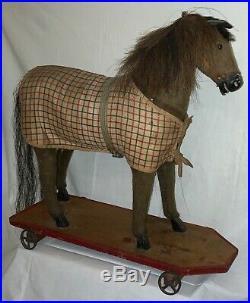 Antique German Large Pull Toy Horse On Wheeled Platform