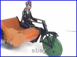 Antique MARX WIND UP INDIAN MOTORCYCLE W SIDECAR TIN FIGURE