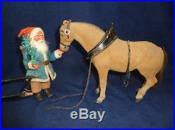 Antique Rare Blue Santa & Horse Candy Conatiners WithSalesman Sample Carriage