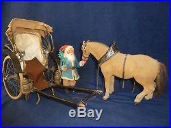 Antique Rare Blue Santa Horse Christmas Salesman Sample Carriage Candy Cont