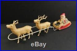 Antique Santa Claus on Sleigh with Reindeers 12 Celluloid Japan 1940's