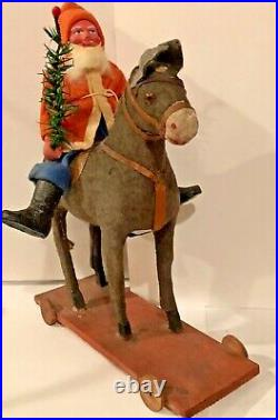 Antique VIntage Composition Santa On Donkey Pull Toy Glass Eyes Germany
