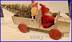 Antique VTG Composition Santa Driving Wooden Truck Candy Container Toy German
