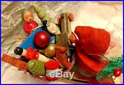 Antique VTG Removable Head Santa Candy Container On Sled W Basket Toys German