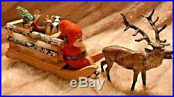 Antique VTG Santa In Sled Christmas Candy Container Metal Reindeer Toys German