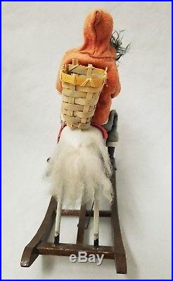 Antique Vintage 1930's Santa on Rocking Horse toy with Key in Working Condition