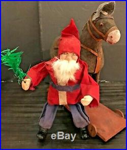 Antique Vintage Santa Riding Cloth Covered Glass Eyed Donkey Pull Toy German