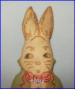 Antique Vtg 1920s Alice in Wonderland White Rabbit Stuffed Cloth Doll Toy Figure