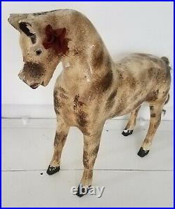 Antique Wooden Horse Child Toy For Doll/Bear Display Large Miniature Wood Figure