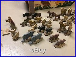 Antique Wooden Noahs Ark 40 Piece Wooden Figure Set Rare