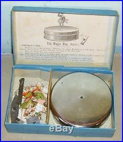 Antique toy circa 1894 The Magic Box spinning top dancing figures toy Boxed