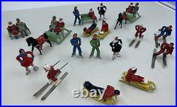 Barclay Manoil Winter Sports Lead Toy Figure Lot Skaters Skiers Sleds Sleghs