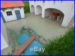 Binbak Vintage Mansion Horse Farm Doll Wooden House Figures Toy Hand Made Antiqu