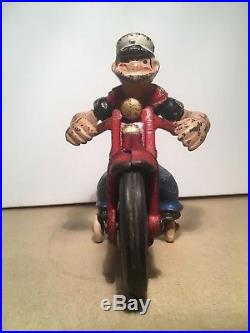 Cast iron Hubley POPEYE Patrol Cycle Motorcycle vintage 1930s toy figure rare