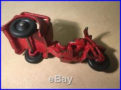 Cast iron Popeye figure w vintage Hubley Spinach delivery motorcycle 1930s toy
