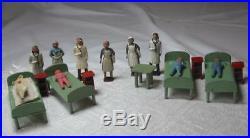 Crescent Hospital Miniature Lead Rare Doctor Nurse Children Figure Dollhouse