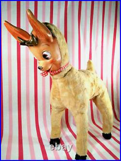 Darling RARE Vintage Columbia Toy Products Rubber Face Reindeer RoKo 21 Tall