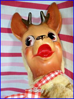 Darling Vintage Columbia Toy Products Rubber Face Reindeer KoKo 21 Tall Deer