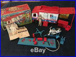 EVEL KNIEVEL Scramble Van COMPLETE with ALL PIECES & Figure & Stunt Cycle