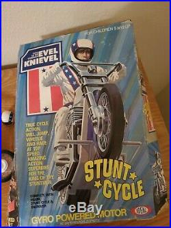 Evel Knievel 1970s Rare Action Figure & Evil Stunt Cycle Ideal Toys with Box