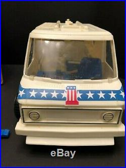 Evel Knievel CB Van, Figure withRams Horn Helmet, Stunt Cycle, Energizer, Box, Ect