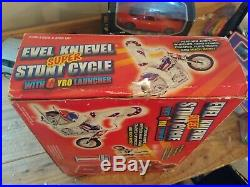 Evel Knievel Chrome Stunt Cycle & Evil Action Figure in original box