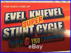 Evel Knievel Chrome Super Stunt Cycle Red Launcher Figure & Box