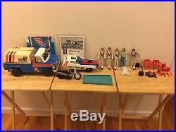 Evel Knievel Lot Canyon Rig Stunt & Crash Car Trail Bike 5 Figures Accessories