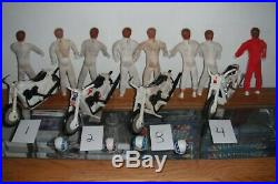 Evel Knievel Lot Of 8 Figures 4 Stunt Cycles And 4 Helmets