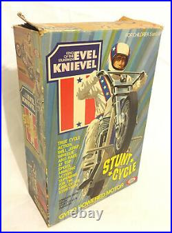 Evel Knievel Stunt Cycle + Action Figure & Energizer 1975 Ideal BoxedVintageRare