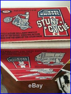 Evel Knievel Stunt Cycle Action Figure Energizer in Original Box 1973 WORKS