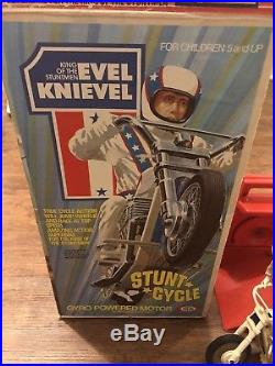 Evel Knievel Stunt Cycle Bike Launcher & Box Evil Action Figure 70s Rare