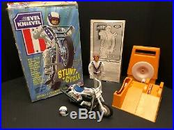 Evel Knievel Stunt Cycle, Figure, Helmet, Belt, Energizer, Box, and Instructions