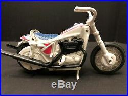 Evel Knievel Stunt Cycle, Figure, Helmet, Belt, Energizer, Box, and Instructions
